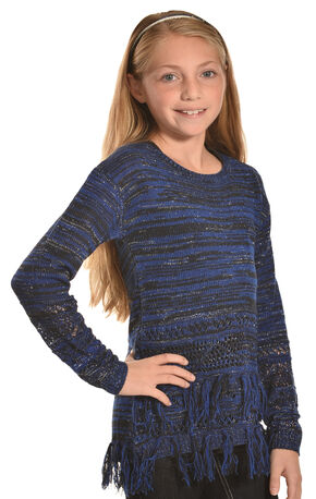 Derek Heart Girls Marled Blue Lurex Fringe Tunic , Blue, hi-res