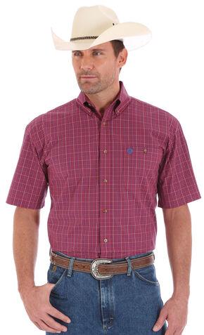 Wrangler Men' s Red George Strait Short Sleeve Shirt, Red, hi-res
