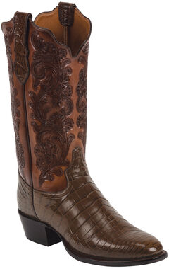 Tony Lama Whiskey Hand-Tooled Signature Series Nile Crocodile Western Boots - Square Toe , , hi-res