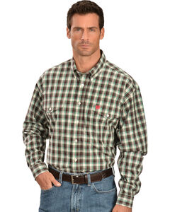 Cinch Brown and Green Plaid Double Pocket Shirt, , hi-res