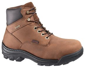 "Wolverine 6"" Durbin Waterproof Lace-Up Work Boots - Steel Toe, Brown, hi-res"
