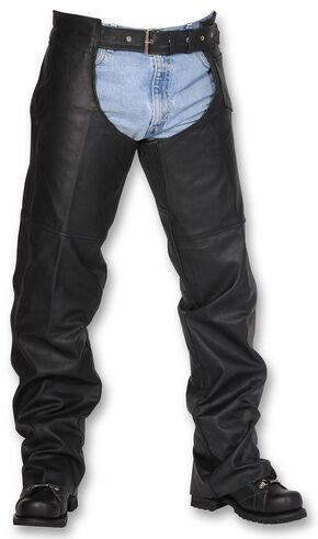 Interstate Leather Unisex Chaps - Big & Tall, Black, hi-res