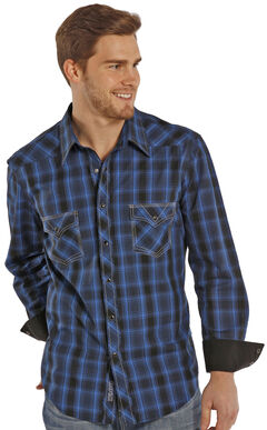 Rock and Roll Cowboy Blue and Black Poplin Western Snap Shirt , , hi-res