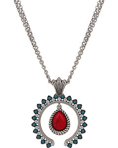 Wrangler Rock 47 Tribal Flair Red and Turquoise Squash Blossom Necklace, , hi-res