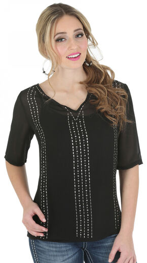 Wrangler Rock 47 Women's Half Sleeve Chiffon Top with Beading, Black, hi-res