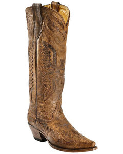 Corral Vintage Brown Eagle Overlay Tall Cowgirl Boots - Snip Toe, , hi-res