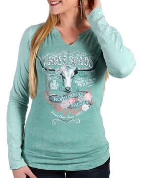 Panhandle Women's Sage Crossroads Graphic Shirt , Sage, hi-res