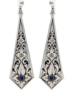 Montana Silversmiths Women's True Blue Silver Flower Filigree Dangle Earrings, , hi-res