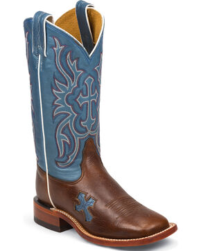 Tony Lama Women's Dark Pecan Bison San Saba Blue Top Western Boots - Square Toe, Pecan, hi-res