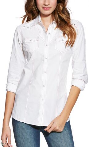 Ariat Women's Nina Snap Shirt, White, hi-res