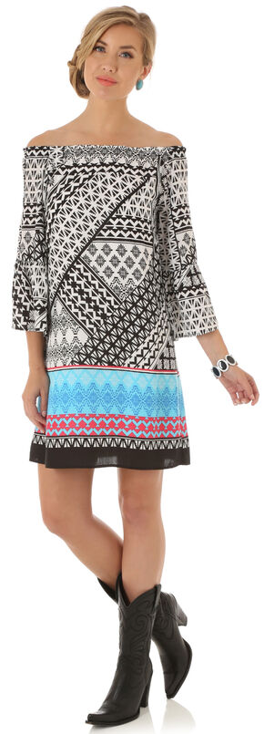 Wrangler Women's Multi Flutter Sleeve Print Dress, Multi, hi-res
