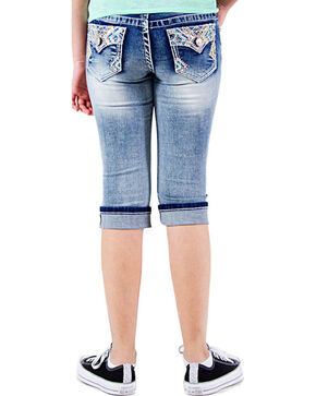 Grace in LA Girls' Faded Denim Capris, Blue, hi-res