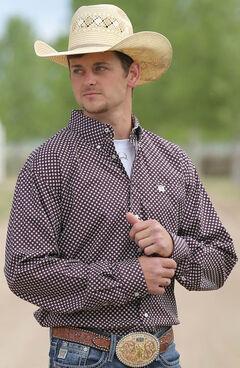 Cinch Men's Cream Mini Print Long Sleeve Shirt , , hi-res