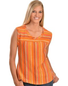 Cowgirl Up Orange Sleeveless Striped Top, , hi-res