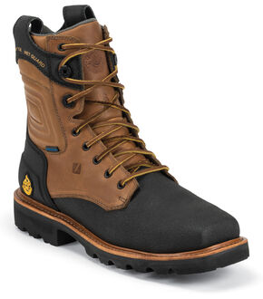 """Justin Original Workboots Tec Tuff Waterproof 8"""" Lace-Up Boots - Comp Toe , Black, hi-res"""
