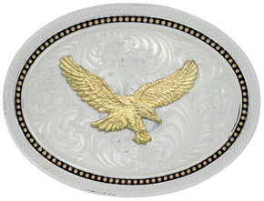 Montana Silversmiths Golden Star Light Oval Golden Eagle Belt Buckle, Multi, hi-res