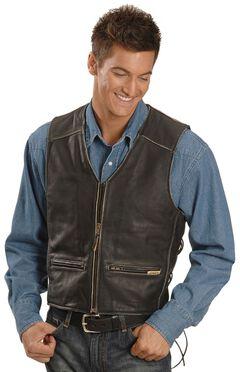 Interstate Leather Men's Side Laced Vest, , hi-res