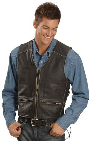 Interstate Leather Men's Side Laced Vest, Black, hi-res