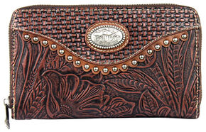 Montana West Trinity Ranch Wallet with Tooling and Basket Weave, Brown, hi-res