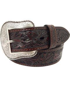 Roper Men's Hand-Tooled Floral Design Belt with Silver Buckle , , hi-res