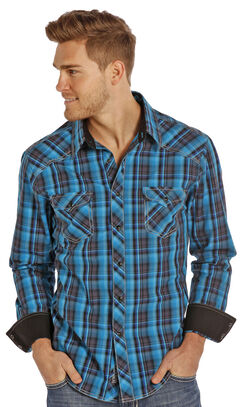 Rock and Roll Cowboy Men's Teal and Black Plaid Snap Western Shirt , , hi-res