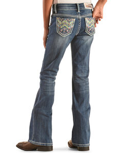 Grace in LA Girls' Colorful Stitch Pocket Jeans - Bootcut , , hi-res