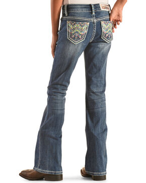 Grace in LA Girls' Colorful Stitch Pocket Jeans - Bootcut , Denim, hi-res