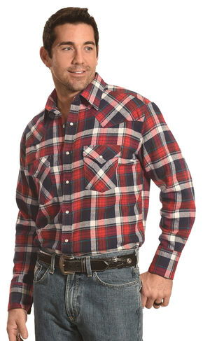 Ely Cattleman Men's Red Plaid Flannel Snap Western Shirt , Red, hi-res