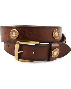 Nocona Gun Shell Cap Leather Belt - Reg & Big, , hi-res