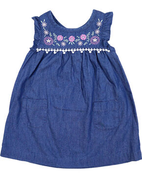 Shyanne Toddler Girls' Embroidered Denim Dress, Blue, hi-res