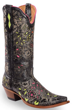 Johnny Ringo Floral Inlay Cowgirl Boots - Snip Toe, , hi-res