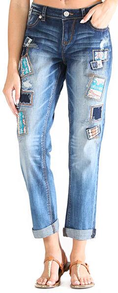 Grace in LA Women's Light Wash Patched Boyfriend Jeans , Indigo, hi-res