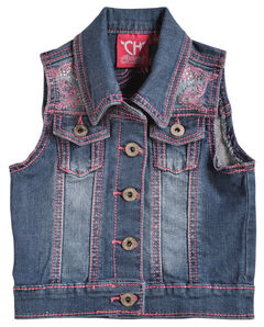 Cowgirl Hardware Girls' Pink Stitched Horse Denim Vest, , hi-res