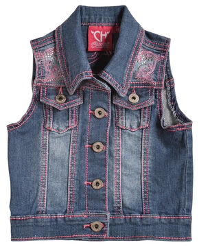Cowgirl Hardware Girls' Pink Stitched Horse Denim Vest, Denim, hi-res