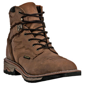 "Dan Post Men's Flame Waterproof 6"" Lace-Up Work Boots - Square Toe , Saddle Tan, hi-res"