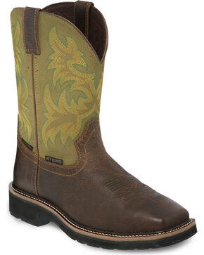 Justin Stampede Dark Waxy Brown Work Boots - Composite Toe, Brown, hi-res
