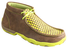 Twisted X Men's Yellow and Brown Checkerboard Driving Mocs , , hi-res