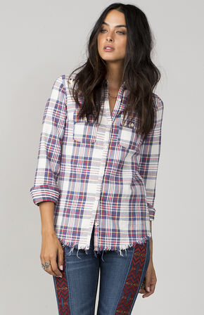 MM Vintage Women's White A Cut Above Plaid Shirt, White, hi-res