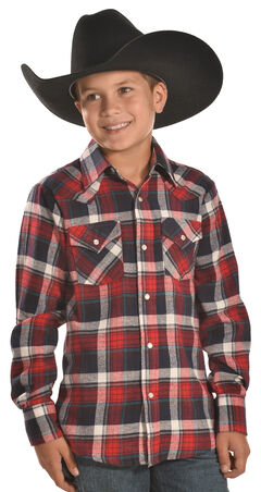 Ely Cattleman Boys' Red Plaid Flannel Western Snap Shirt, , hi-res