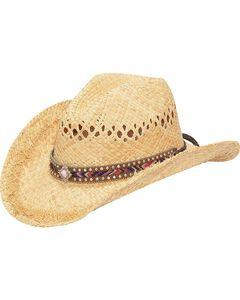 M & F Western Fashion Raffia with Diamond Concho Cowgirl Hat, , hi-res