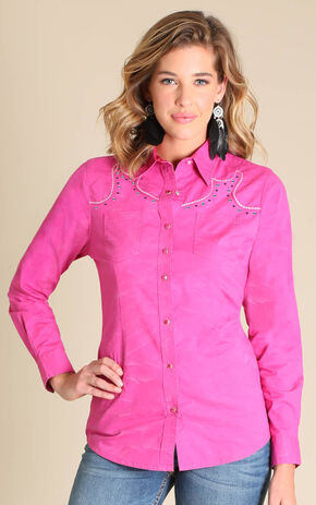 Wrangler Rock 47® Women's Pink Crackle Rhinestone Yoke Long Sleeve Shirt, Pink, hi-res