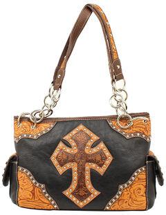 Blazin Roxx Tooled Cross Satchel Bag, , hi-res