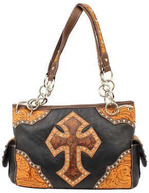 Blazin Roxx Tooled Cross Satchel Bag, Black, hi-res