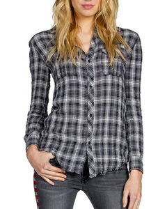 MM Vintage Women's Embroidered Plaid Long Sleeve Shirt, , hi-res