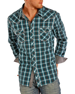 Rock & Roll Cowboy Men's Contrast Plaid Long Sleeve Shirt, Turquoise, hi-res