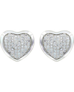 Montana Silversmiths Simply Pave Heart Earrings, , hi-res