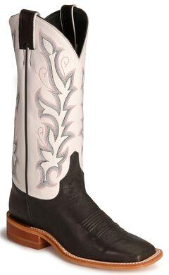 Justin Bent Rail Black Calf Cowboy Boot - Square Toe, , hi-res