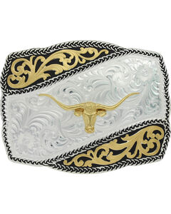 Montana Silversmiths Two-Tone Braided Wave Steer Belt Buckle , , hi-res