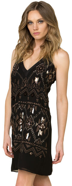 Miss Me Women's Black Sequined Sleeveless Dress, , hi-res