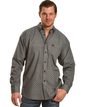 Panhandle Slim Men's Long Sleeve Print Button Down Shirt , Black, hi-res